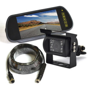 backup camera system with clip-on rear view mirror monitor